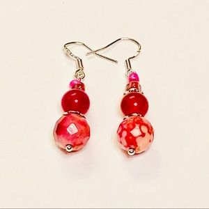 Magenta Peach & Pink Agate & Glass Earrings